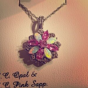 Opal, pink sapphire necklace.